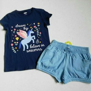 NWT Old Navy Unicorn Top & Crazy 8 Shorts